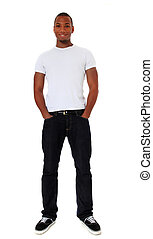 Confident black man - Full length shot of an attractive...