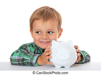 Boy with piggy bank - Cute caucasian boy with his piggy...