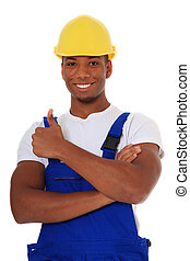 Black manual worker - Attractive black manual worker showing...