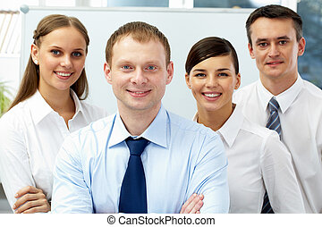 Business environment - Portrait of four businesspeople,...