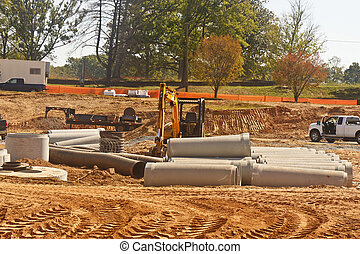 Concrete Pipes at New Construction Site - A new construction...