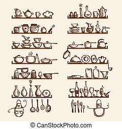 廚房, 器具, 架子, 略述, 圖畫, 你, 設計