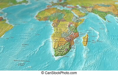 Map of Southern Africa focused and tilted - 3D image of a...