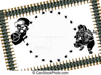 Machine-gun belt and sniper scope