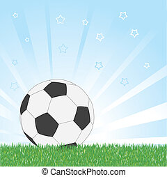 Soccer ball on star blue shiny background