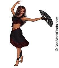 jovem, cigana, dançarino