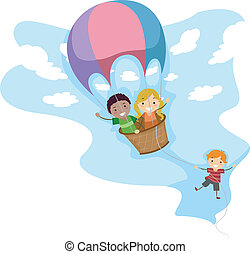 Hot Air Balloon Adventure - Illustration of Kids Riding a...
