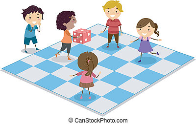 Kids Playing Dice - Illustration of Kids Playing Dice