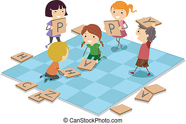 Board Game - Illustration of Kids Playing a Board Game