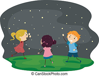 Firefly Kids - Illustration of Kids Chasing Fireflies