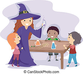 Potion Kids - Illustration of a Witch Showing Kids How to...