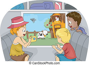 Farm Trip - Illustration of Kids on a Trip to a Farm