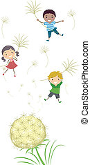 Dandelion Kids - Illustration of Kids Playing with Dandelion...