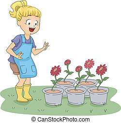 Garden Visit - Illustration of a Kid Paying Her Plants a...