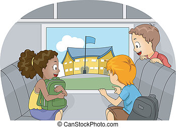 Excursion - Illustration of Kids on a Field Trip to another...