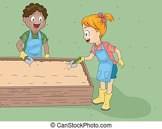 Gardening Club - Illustration of Kids Doing Some Gardening