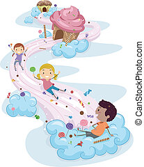 Candy Land Kids - Illustration of Kids Playing in a Candy...
