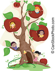 Apple Tree Kids - Illustration of Kids Playing in an Apple...