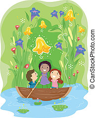 Pond Adventure - Illustration of Kids Paddling Their Way...