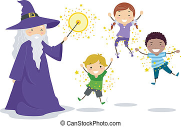 Wizard Kids - Illustration of a Wizard Casting a Spell on...