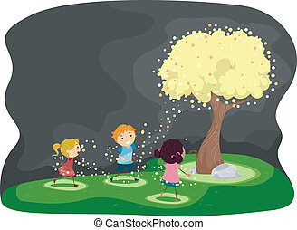 Firefly Tree - Illustration of Kids Gathered Around a Tree...