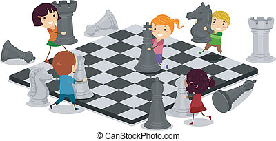 Kids Playing Chess - Illustration of Kids Playing Chess