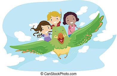 Flying Bird - Illustration of Kids Riding a Giant Bird