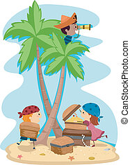 Pirate Kids - Illustration of Kids Dressed Up as Pirates
