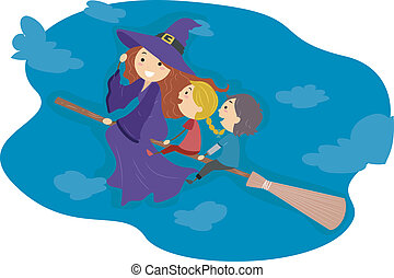 Broomstick Ride - Illustration of Kids Riding a Broomstick