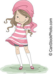 Kid Shirt - Illustration of a Cute Girl in a Large T-Shirt
