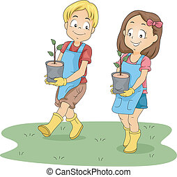 Kids Carrying Seedlings - Illustration of Kids Carrying...