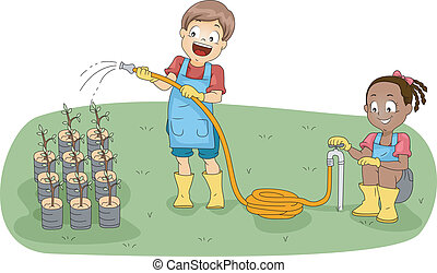 Gardening Club - Illustration of Kids Watering Plants