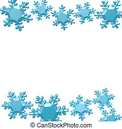 Winter Background - Blue snowflakes isolated on white with...