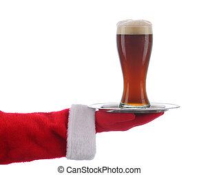 Santa with Beer Glass on Tray