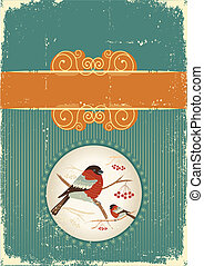 bullfinches in winter.Vintage christmas card for text