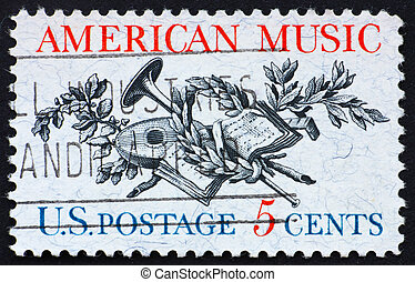Postage stamp USA 1964 Music instruments