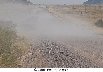 poussiéreux, route, Namibie