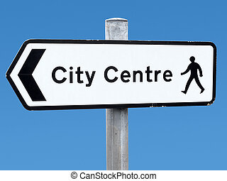 English city centre direction sign