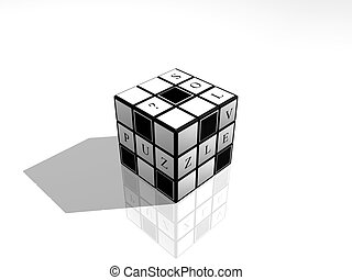 Solve Puzzle Cube - 3D render of the Rubiks like cube with...