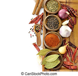 Spices Assortment On A Cutting Board, Top View