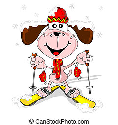 Cartoon dog skiing - A cartoon dog with skis skiing in the...