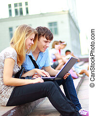 young students lined up for a portrait