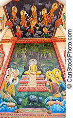 Religious painting at Buddhist temple in Sisophon, Cambodia