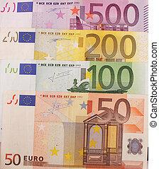bills - 50, 100, 200, 500 Euro bills