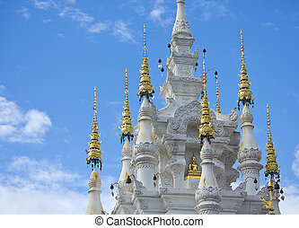 thai temple in blue sky day