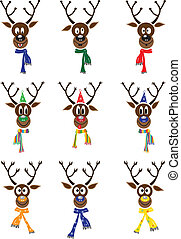 Vector Set Christmas with reindeer - Vector Set Christmas...
