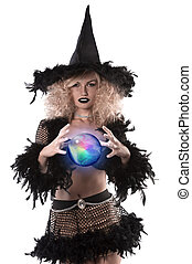 pretty blonde girl dressed up as a halloween witch