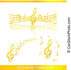 abstract music symbols set gold color isolated