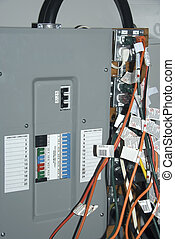 Electrical Panel - A busy electrical panel at a trade powers...
