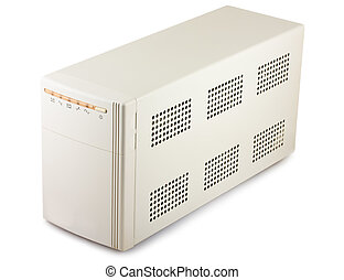 Uninterruptible power supply system isolated on a white...